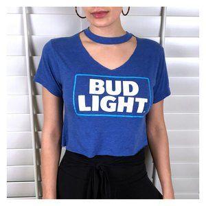 VINTAGE Upcycled Bud Light Crop Top Tee